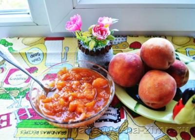 Варенье из персиков дольками «Пятиминутка» без воды с лимоном