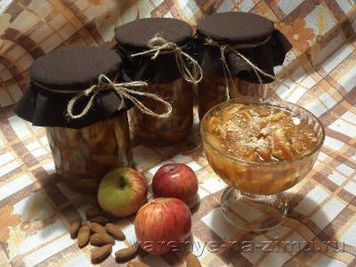 Варенье из яблок с корицей и миндалем